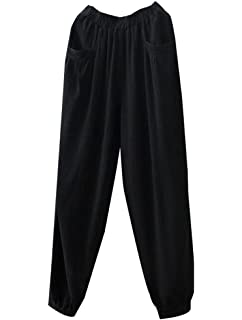 3840ba474ae7 Minibee Women's Cotton Linen Tapered Cropped Pants Elastic Waist Trousers