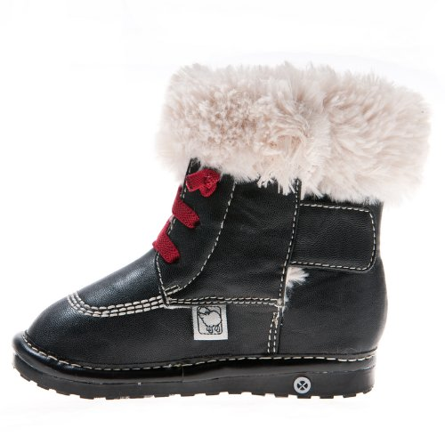 HLT Toddler//Little Kid Fur Collar Decorative Shoelace Squeaky Boot