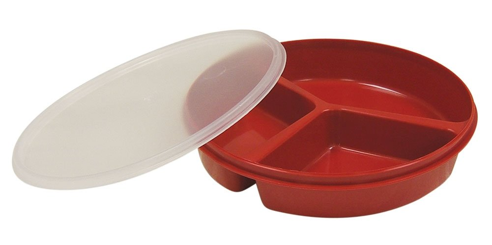 Partitioned Scoop Dish with Lid - Red