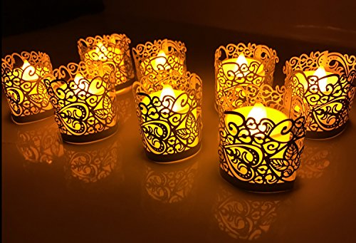 Votive Candle Wraps - CozyT 100 PACK Tea Light Votive Wraps Paper Candle Holder Laser Cut For Decorative Wedding Party