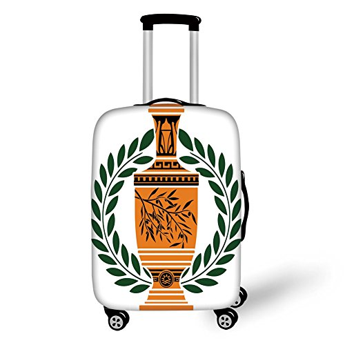 - Travel Luggage Cover Suitcase Protector,Toga Party,Old Antique Greek Vase with Olive Branch Motif and Laurel Wreath,Hunter Green Orange Black,for Travel