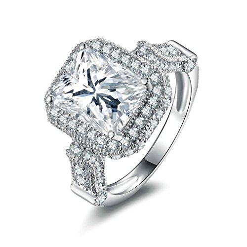 [Women Wedding Rings Silver Plated Square Cubic Zirconia Personalized Rings Custom Made Size 6.5 by] (Holiday On Ice Costumes For Sale)