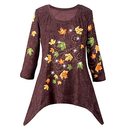 Collections Women's Autumn Leaves Sharkbite Tunic Top, Brown, Large (Autumn Top Shirt Brown)