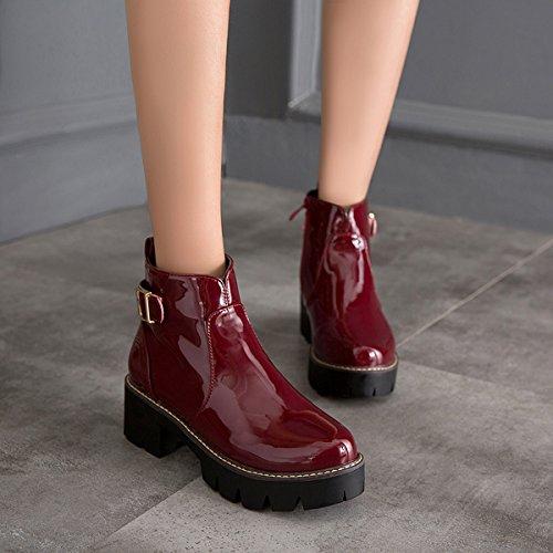 YE Damen Blockabsatz Lack Ankle Boots Stiefeletten Plateau mit Schnallen und Reißverschluss Freizeit Bequem Schuhe Rot