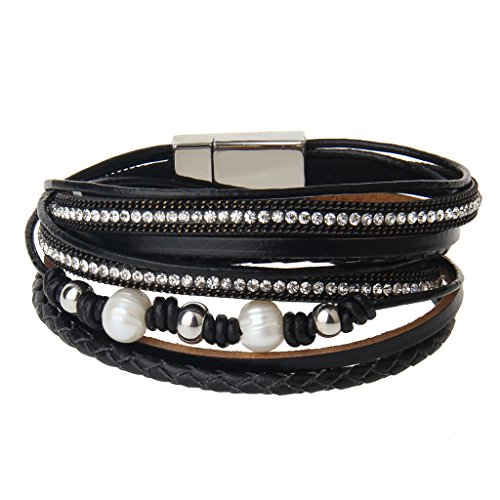 Beaded Charms Black (AZORA Black Women Leather Wrap Bracelet with Pearl Crystal Charm Rope Braided Cuff Bracelets Handmade Jewelry Gift for Teens Girls)