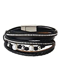 COOLLA Jewelry Fashion Women Bracelet Woven Pearls Wrap Bracelet with Magnetic Clasp