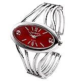 Top Plaza Womens Fashion Bangle Cuff Bracelet Quartz Watch, Oval Face Silver Tone - Red Face