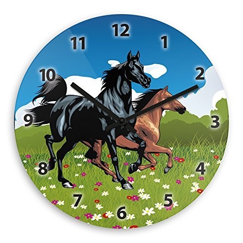 Modern Wood Wall Clock With Horse Motive For Children Nursery Clock Children Watch Wall Clocks Decorative for Kids Living Room Bedrooms Home Decor Wall Art 12in ()