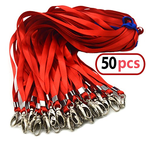 Red Bulk Lanyards for Id Badges, Nylon Neck Flat Lanyard Swivel Hooks Clips, Durably Woven lanyards with Clip for Key Chains Men Women Office ID Name Tags and Badge Holders, lanyards 50Pack 32-inch]()