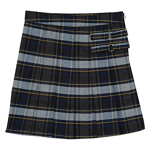 French Toast Big Girls' Plaid Pleated Scooter, Blue/Gold, 12