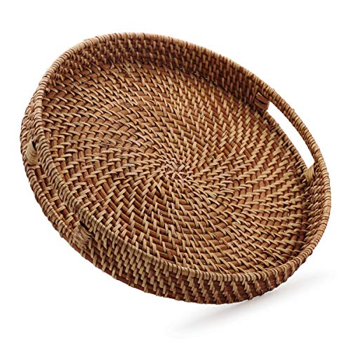Round Rattan Woven Serving Tray with Handles for Breakfast, Drinks, Snack for Coffee Table, Home Decorative (13.8