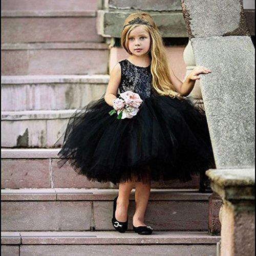 Bébé Tenues Sans Enfant Manches Noir Uni 4 Coeur Angelof Soiree Mariage Courtes Robe Ans Fille Évasée Tulle Tutu Paillettes 1 Partie Patineuse Princesse TwUtz8qU