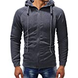 PASATO Men's Long Sleeve Autumn Winter Casual Sweatshirt Hoodies Top Blouse Tracksuits Outswear O-Neck Cardigan(Dark, L)