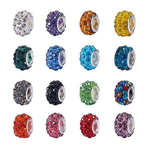 NBEADS 100Pcs Mix Color Crystal Charms Beads Spacers Fit European Bracelet Snake Chain Charms Bracelet