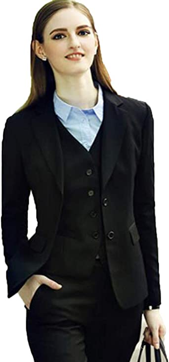 Amazon Com Wzw Lady Office Suits Sleeve Three Pieces Business Designers Pant Suit Set Clothing