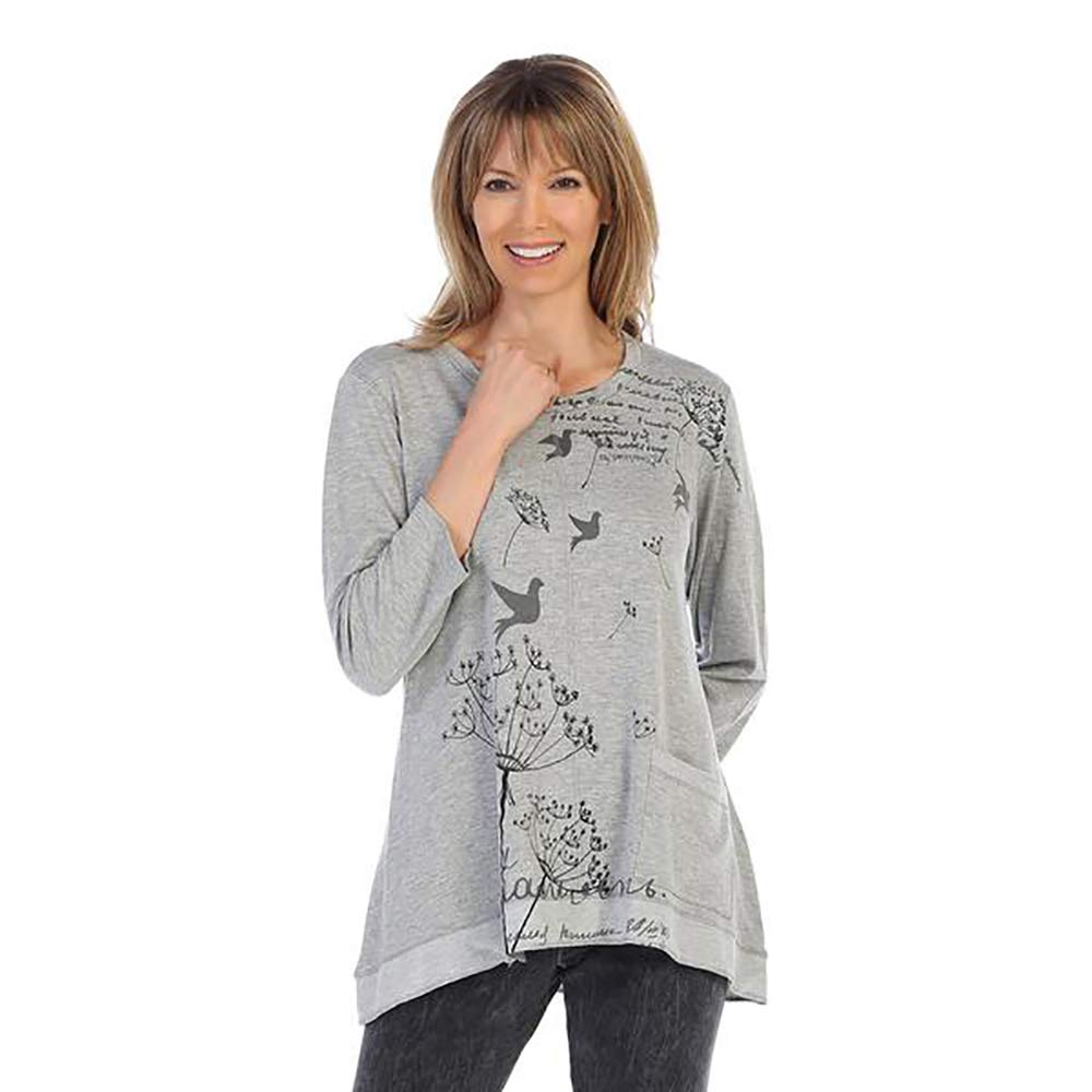 Jess & Jane Dandelion Bird Print HighLow Tunic in Grey  BT11286