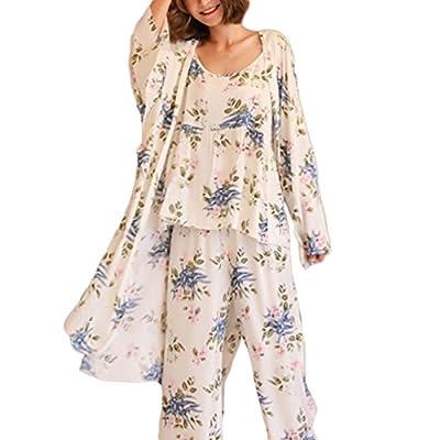 Women's Sleepwear Sets Elegant 3pcs Pajamas Floral Cami Dressing Gown and Pants Suits