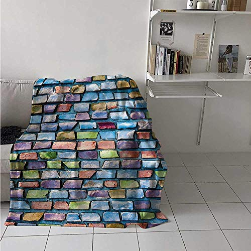 maisi Geometric Digital Printing Blanket Colorful Mosaic Tiles Pattern Brick Wall Design with Grunge Effect Worn Out Look Summer Quilt Comforter 62x60 Inch Multicolor