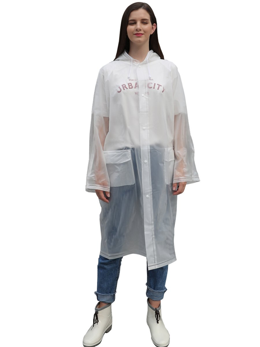 LINENLUX Waterproof Button Rain Poncho Jacket with Pockets White Medium