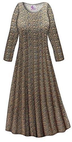 Sanctuarie Designs Navy & Tan Dots Slinky Print Plus Size Long Sleeve A-Line Maxi Dress (Dot Slinky)