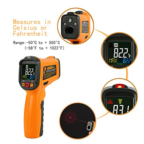 Infrared Thermometer AIDBUCKS PM6530B Digital Laser Non Contact Cooking IR Temperature Gun -58°F to 1022°F with Color Display 12 Points Aperture for Kitchen Food Meat BBQ Automotive and Industrial by AIDBUCKS (Image #8)