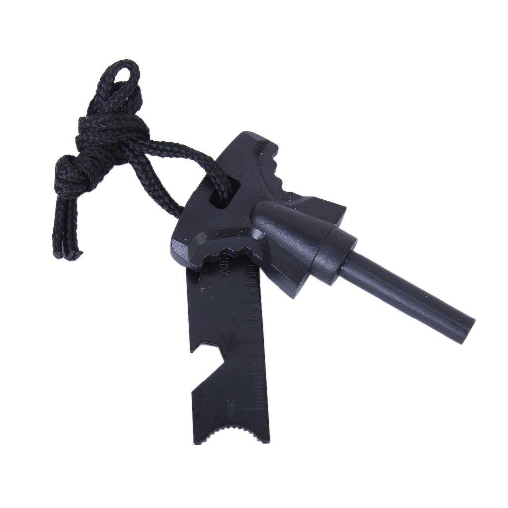 8mm Magnesium Stick Fire Striker Emergency Survival Kit for Outdoor---Black