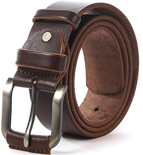- Heavy Duty Leather Belt - 100% Thick Solid Cow Leather. Durable and strong. (L-122cm>38-43
