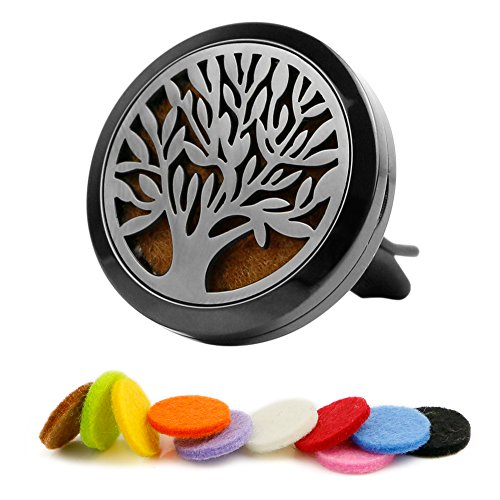 Cedar Quarter Round - Aromatheraply Essential Oil Car Diffuser Stainless Steel Locket - Tree of Life