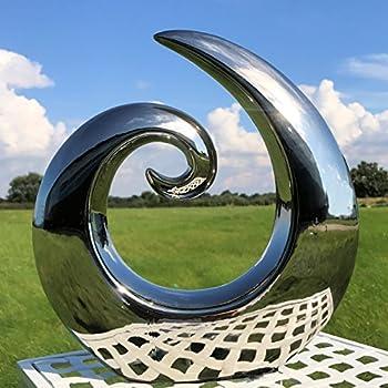 The Crosby Street Contemporary Asymmetrical Wave Sculpture Modern Art Silver Titanium Glaze Ceramic