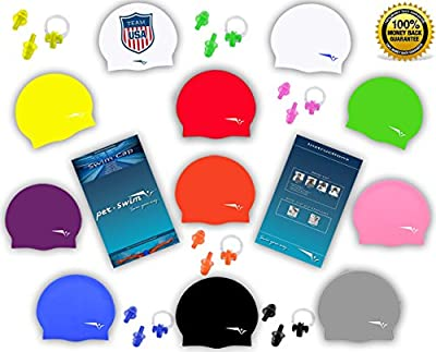 4 in 1: Per-Swim Silicone Cap + FREE Reusable Zippered Plastic Pouch + FREE Earplugs + FREE Nose Clip. Hypoallergenic - Stretchy & Comfortable - Keep Hair Dry - For Men & Women - One Size Fits MOST