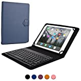 New Apple iPad 9.7 (2017) keyboard case, COOPER BACKLIGHT EXECUTIVE 2-in-1 Backlit LED Bluetooth Wireless Keyboard Leather Travel Cover Folio Portfolio Stand with 7 Colors (Blue)