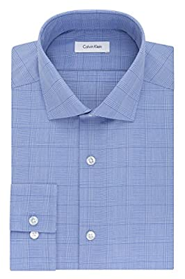 Calvin Klein Men's Non Iron Slim Fit Plaid Spread Collar Dress Shirt