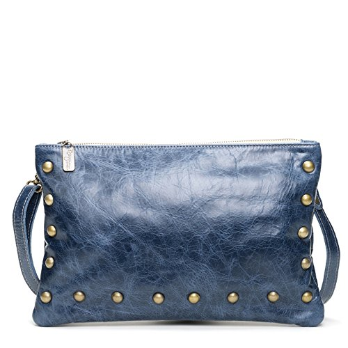 Blue Distressed Italian Leather Medium Crossbody Clutch by Brynn Capella Handbags