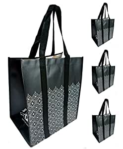 Reusable Grocery Shopping Bags - Premium Heavy Duty Wipe-clean Totes (4, Black Lace)