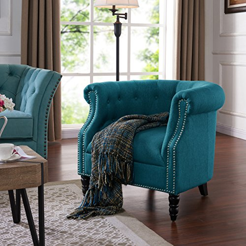 Domesis Chapman Chair in Peacock Blue Linen