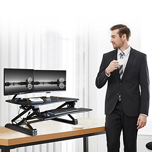 Alice 36'' Height Adjustable Standing Desk Converter Sit to Stand Desk Riser with Removable Keyboard Tray by Alice