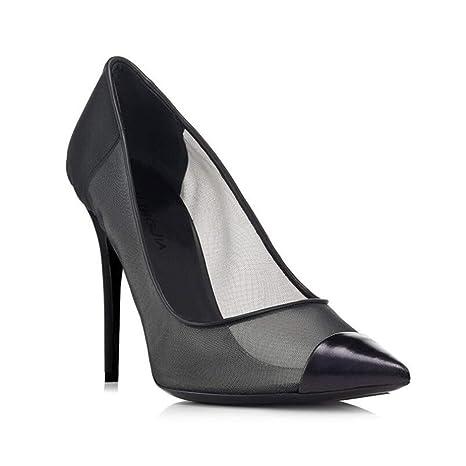 SHINIK Scarpe da donna europee e americane sexy nere a rete a punta singola scarpe donna tacco alto sandali 2018 (Color : Black,…