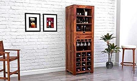Aprodz Sheesham Wood Wine Storage Stylish Nanson Bar Cabinet for Living Room | Teak Finish