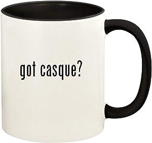 got casque? - 11oz Ceramic Colored Handle and Inside Coffee Mug Cup, Black