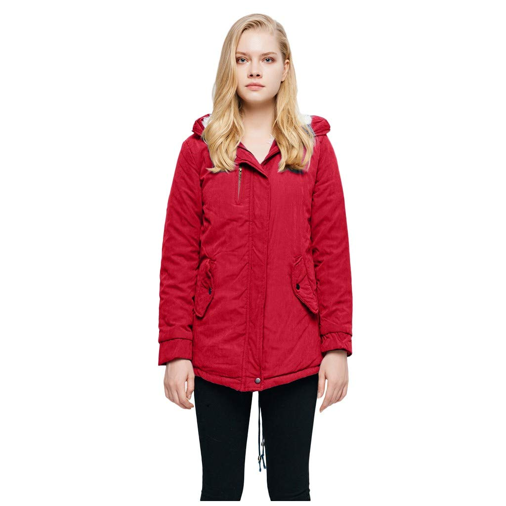 IEason Womens Casual Long Sleeve Warm Hooded Coat Slim Winter Fleece Outwear Jacket Red by IEason Women Coat