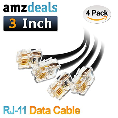 (4 Pack) 3 inch RJ11 6P4C Data Cable, Male to Male Modular Data Cord (Black - Straight (3 Inch Telephone Cord)