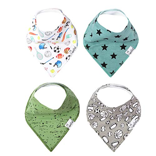 """Baby Bandana Drool Bibs for Drooling and Teething 4 Pack Gift SetVarsity"""" by Copper Pearl"""