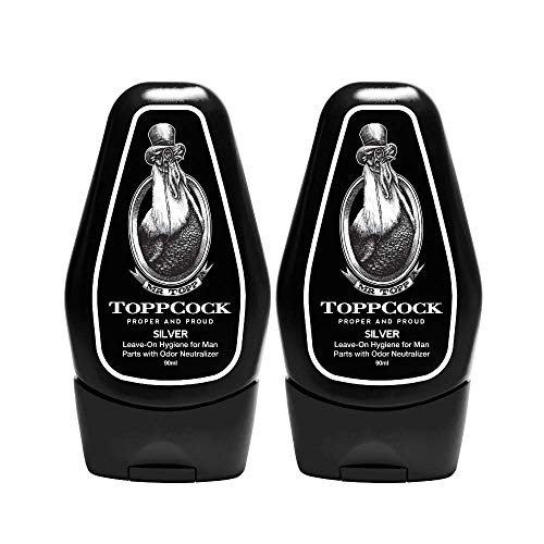 - ToppCock Silver Leave-On Hygiene for Man Parts with Odor Neutralizer 90ml (Pack of 2)