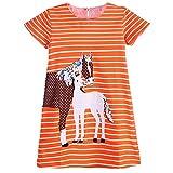 Lyxinpf Little Girls Dresses Cotton Short Sleeve Cartoon Animal Stripe T-Shirt Dress (18M, D)