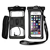 [2017 Upgraded Design] Vansky® Floatable Waterproof Phone Case Dry Bag with Armband and Audio Jack for iPhone 8, 8p, 7, 7Plus, 6, 6s plus, Andriod; Mobile Phone Case Waterproof Bag, Eco-friendly TPU Construction and IPX8 Certified to 100 Feet(Black)