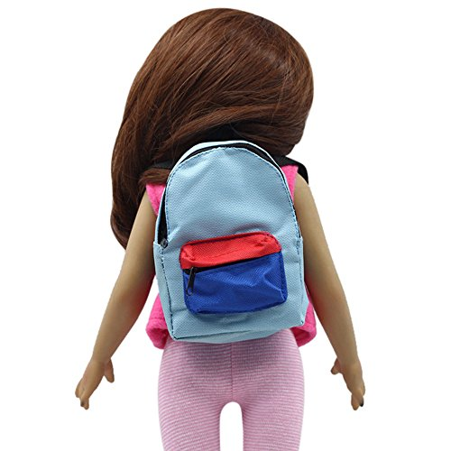 OHQ MODA Borsa per bambini, 18 Scarpe E Borse Donna Tote Zaino A Spalla Con Doppia Tracolla Per Bambola Da Pollici Di Nostra Generazione Blu