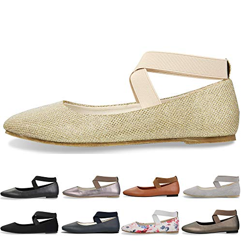 Women's Classic Round Toe Ballerina Walking Slip On Suede Flats - Comfortable Closed Toe Ballet (7-7.5 B(M) US/ CN39 / 9.5'', - Golden Ladies Shoes
