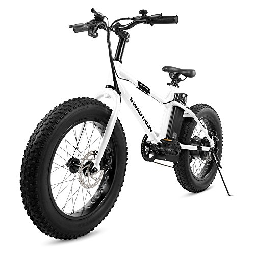 "Swagtron EB-6 Bandit E-Bike 350W Motor, Power Assist, 4"" Tires, 20"" Wheels, Removable 36V Lithium Ion Battery, Dual Disc Brakes- Electric Bike 7-Speed SIS Shifting Built for Trail Riding"