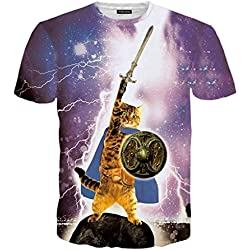 Rxbc2011 Men's Clothing 3D Printed Epic Cat Warrior T Shirt XL Purple