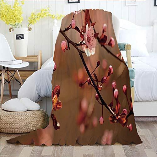 Nature,Throw Blankets,Flannel Plush Velvety Super Soft Cozy Warm with/Cherry Blossom Sakura Tree Branches Flowering Japanese Flourishing Print Decorative/Printed Pattern(70